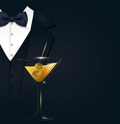 VIP premium invitation card.  Black poster with businessman suit, tie and martini glass. Black and golden colors. Vector illustration