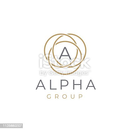 Premium letter A logotype design. Luxury  linear circle monogram abstract logotype. Creative elegant vector symbol.