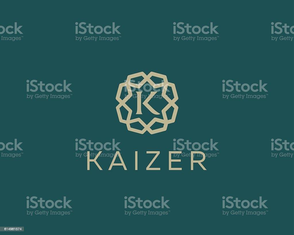 Premium letter K logo icon vector design. Luxury jewelry frame vector art illustration