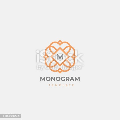 Premium letter M initials emblem. Luxury abc floral symbol. Universal monogram icon vector design.