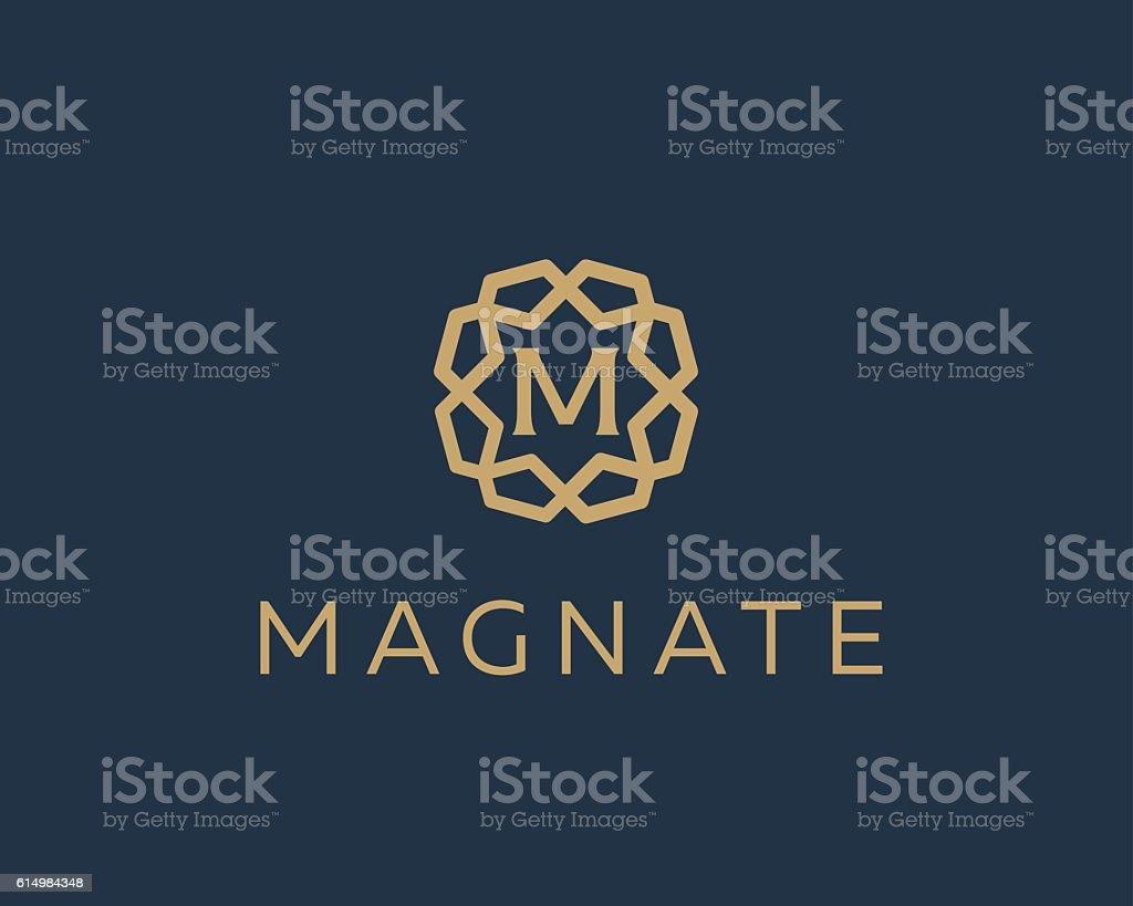Premium letter M logo icon vector design. Luxury jewelry frame vector art illustration