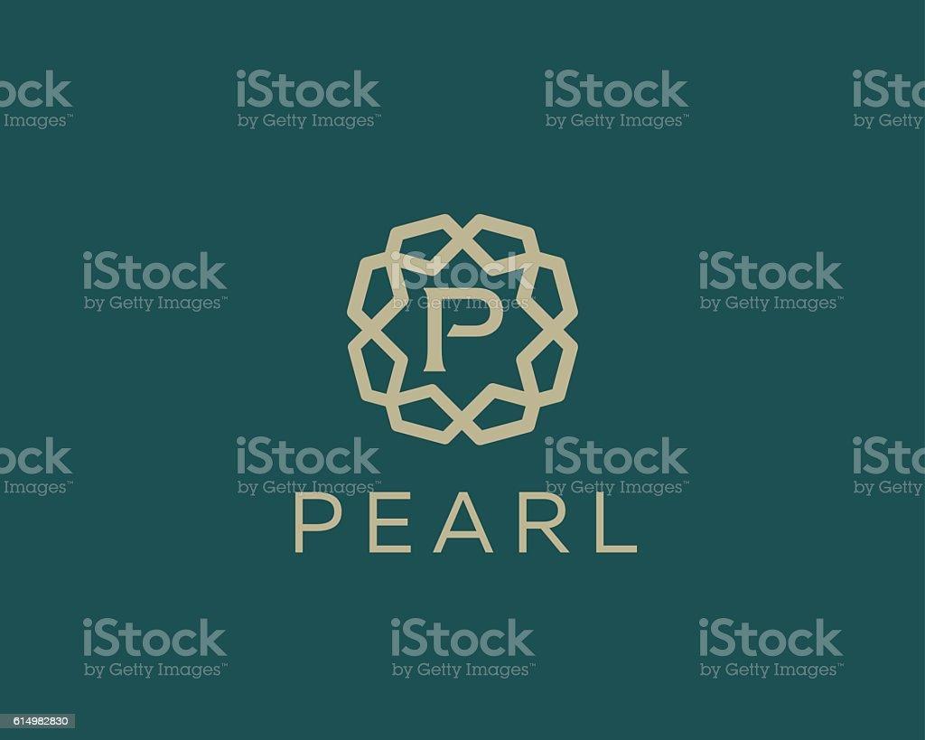 Premium letter P logo icon vector design. Luxury jewelry frame vector art illustration