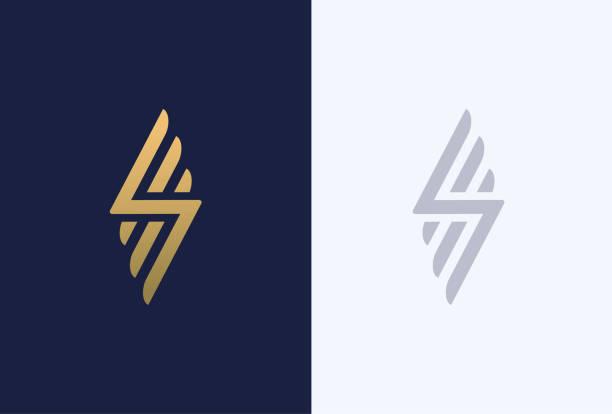 premium-buchstabe s-logo-design. luxus abstrakte geometrische schriftzug. kreative elegante flügel vektor-monogramm-symbol. - tierflügel stock-grafiken, -clipart, -cartoons und -symbole