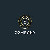 Premium letter S logo design. Luxury  linear circle monogram abstract logotype. Creative elegant vector symbol.
