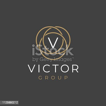 Premium letter V logotype design. Luxury  linear circle monogram abstract logotype. Creative elegant vector symbol.