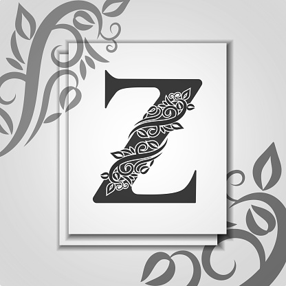Premium letter Z with Elegant floral contour for initials logo. Letter Z isolated on modern card. Universal symbol template for design, business or wedding card, monogram, logotype, restaurant, cover