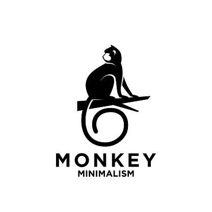 premium minimalism monkey vectoricon illustration design isolated background