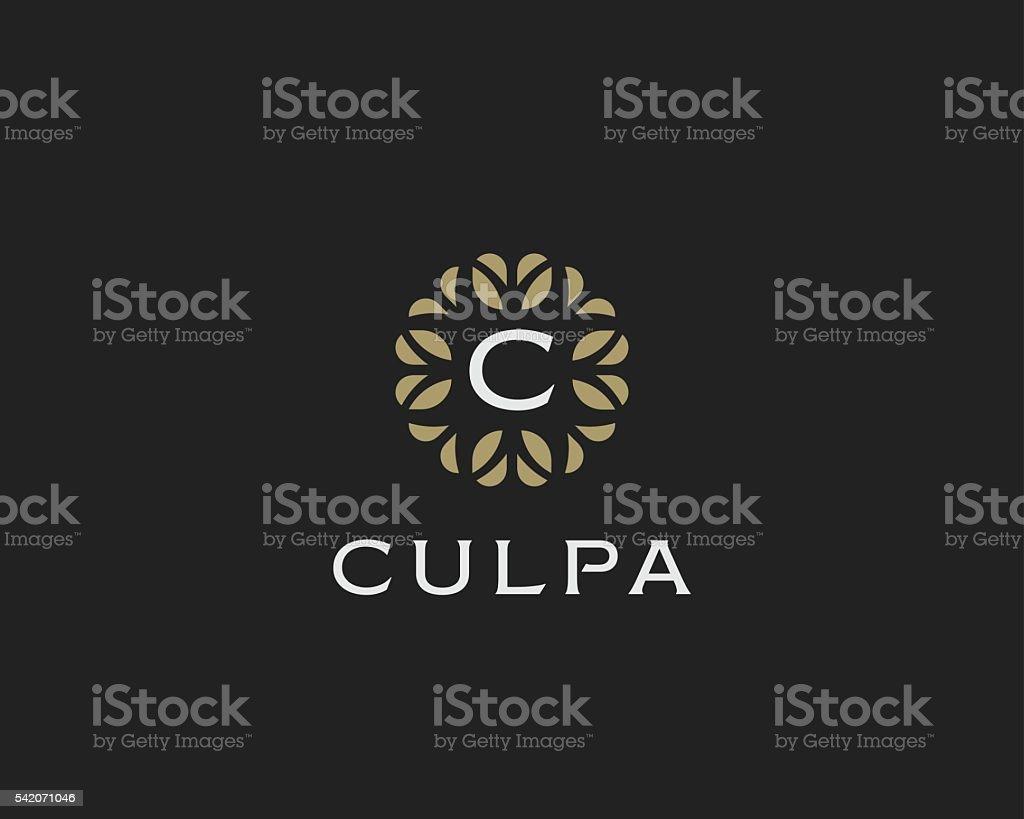 Premium monogram letter C initials logo. Universal symbol icon vector vector art illustration