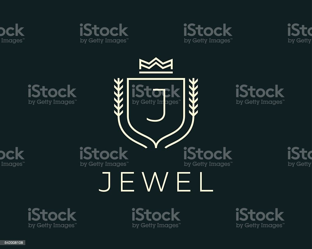 Premium monogram letter J initials ornate signature logotype. Elegant crest vector art illustration
