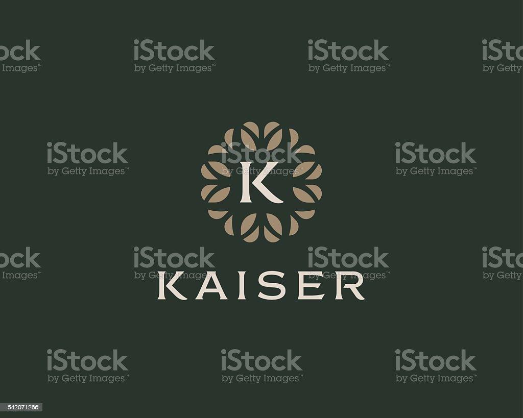 Premium monogram letter K initials logo. Universal symbol icon vector vector art illustration