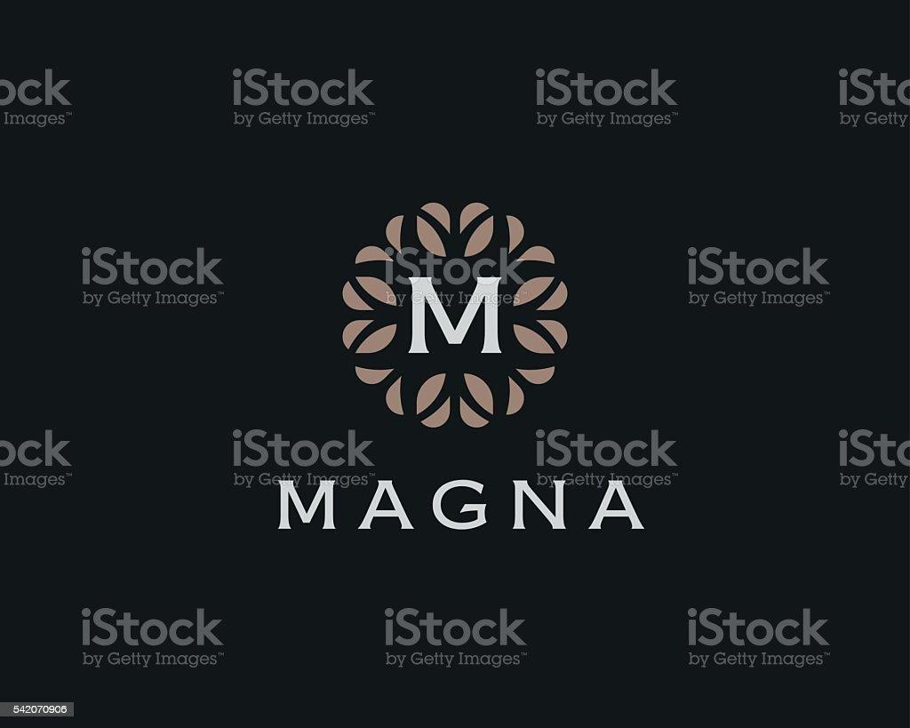 Premium monogram letter M initials logo. Universal symbol icon vector vector art illustration