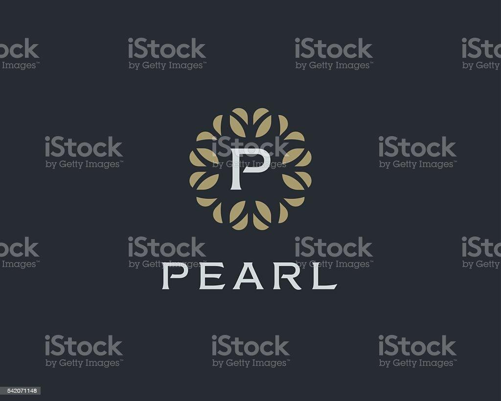 Premium monogram letter P initials logo. Universal symbol icon vector vector art illustration