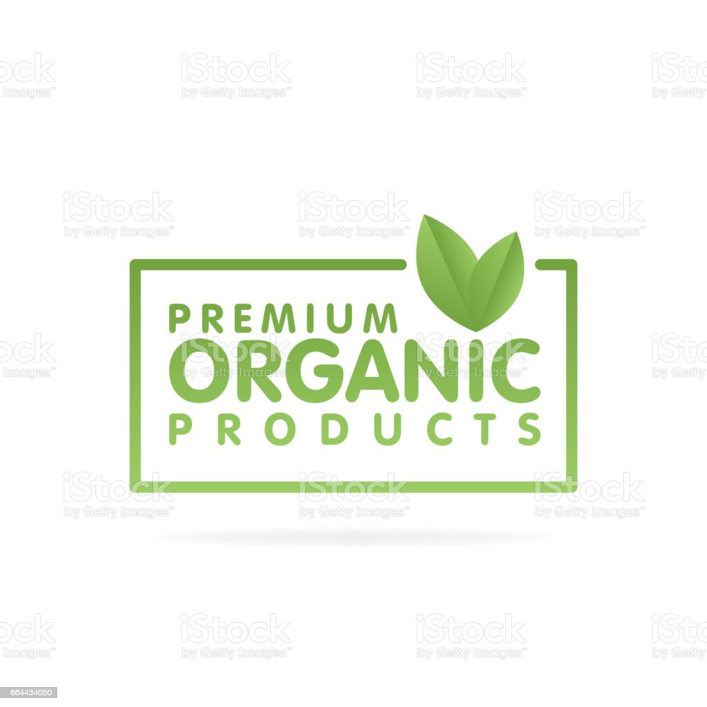 Premium organic products banner. Text and frame with green leaf. Vector illustration vector art illustration