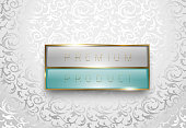 Premium product light grey and green label with golden frame on white floral background. Luxury glossy logo template. Vector illustration