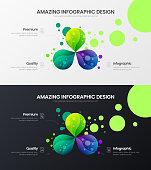 Premium quality 3 option marketing analytics presentation vector illustration template set.  Business data visualization design layout. Amazing colorful organic statistics infographic report bundle.