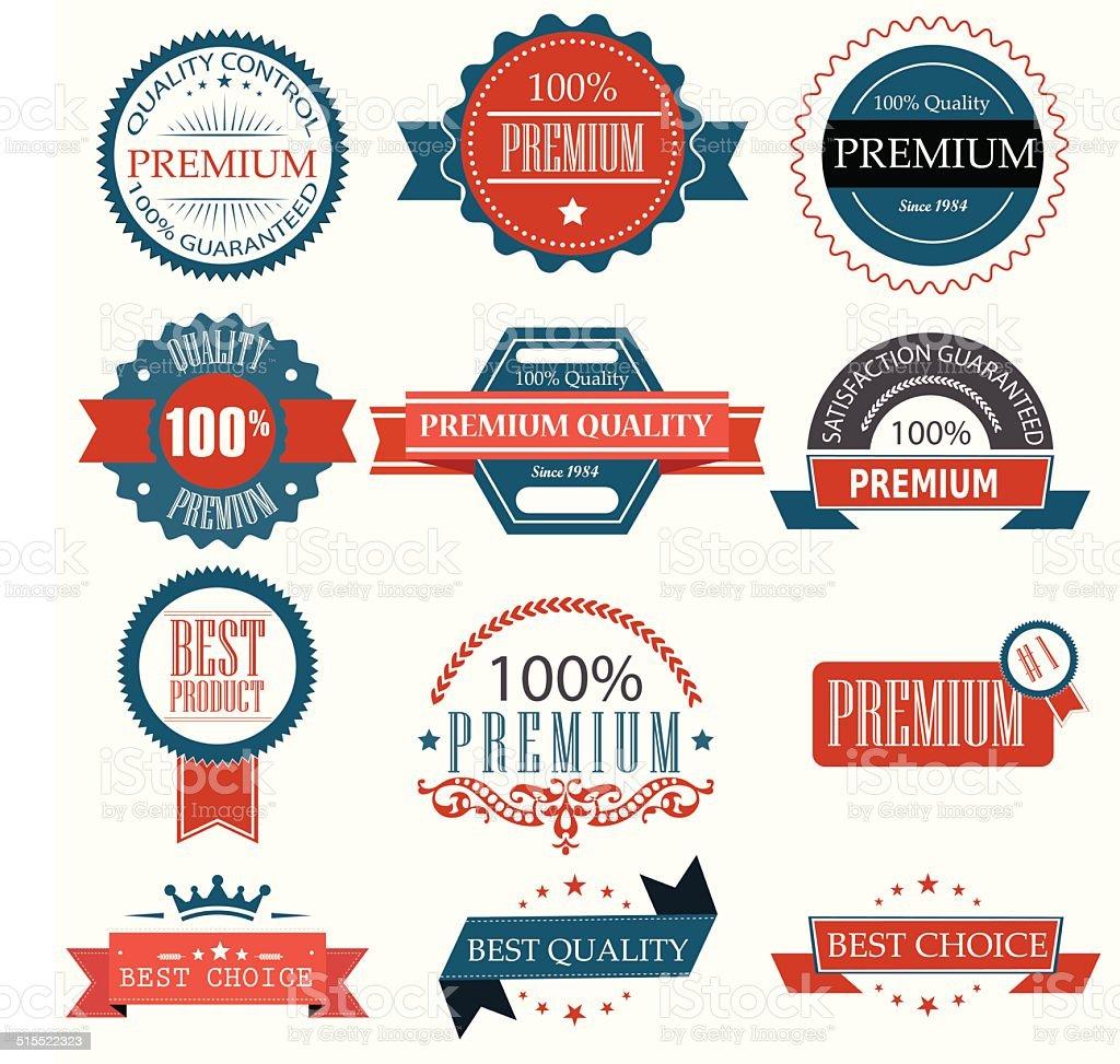 Premium Qualität Abzeichen und Etiketten-set.  Illustration eps10 – Vektorgrafik