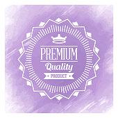 Vector premium quality badge design over watercolor background.
