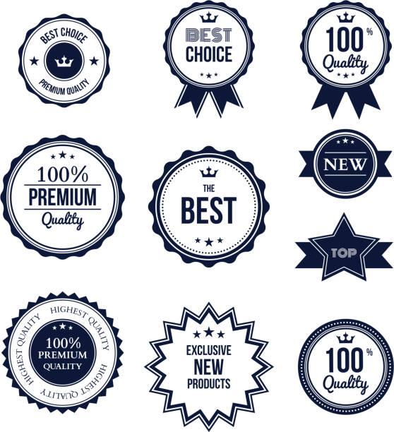 illustrazioni stock, clip art, cartoni animati e icone di tendenza di premium qualità migliore scelta etichetta impostata isolato - sigillo timbro