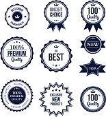 Premium quality best choice labels set isolated