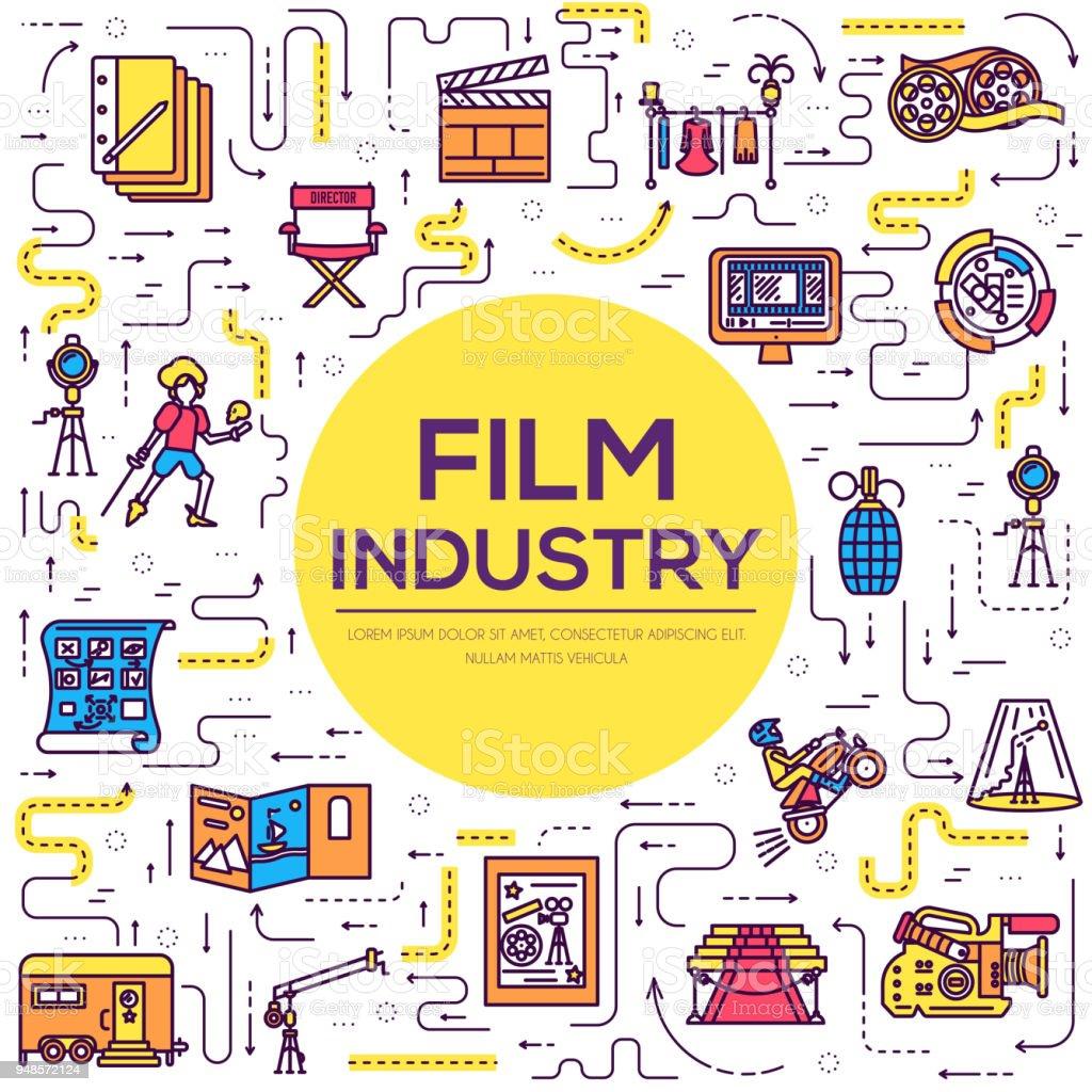 Ilustración de Premium Calidad Cine Industria Delgada Línea Diseño ...
