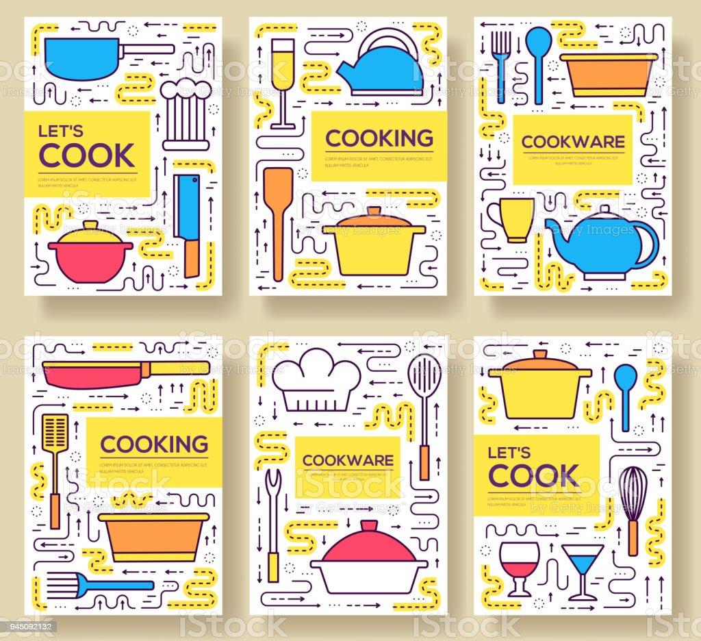 Ilustración de Las Tarjetas Premium Calidad Utensilios De Cocina ...