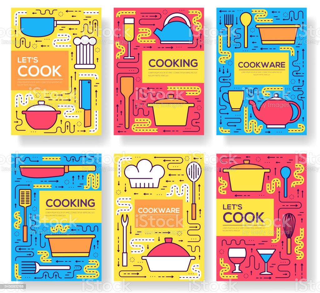 Las Tarjetas Premium Calidad Utensilios De Cocina Vector Folleto ...