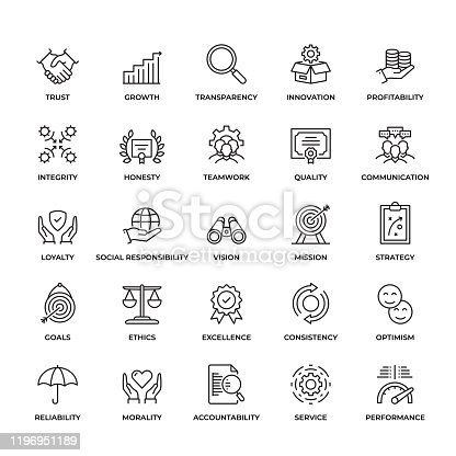 Premium Quality Core Values Icon Set. This unique style outline icon set contains such icons as Trust, Honesty, Quality, Ethics  and so on