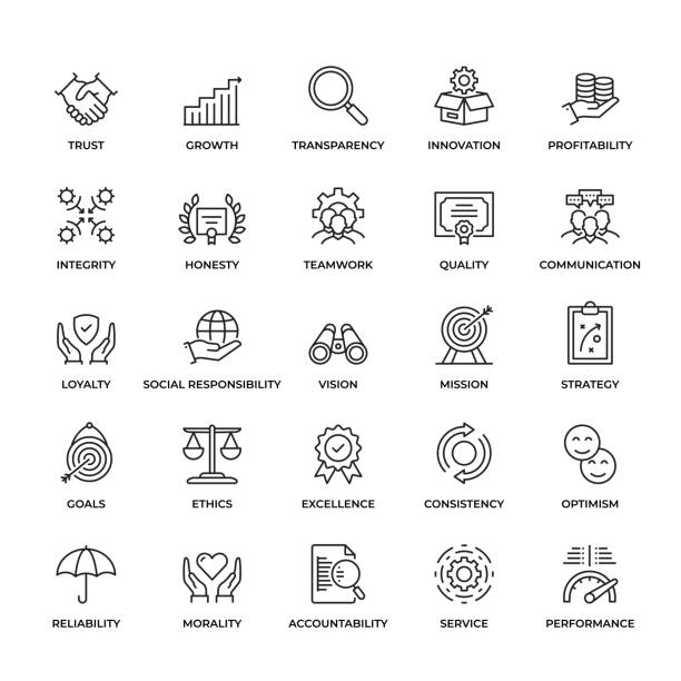 Premium Quality Core Values Icon Set Premium Quality Core Values Icon Set. This unique style outline icon set contains such icons as Trust, Honesty, Quality, Ethics  and so on performance stock illustrations