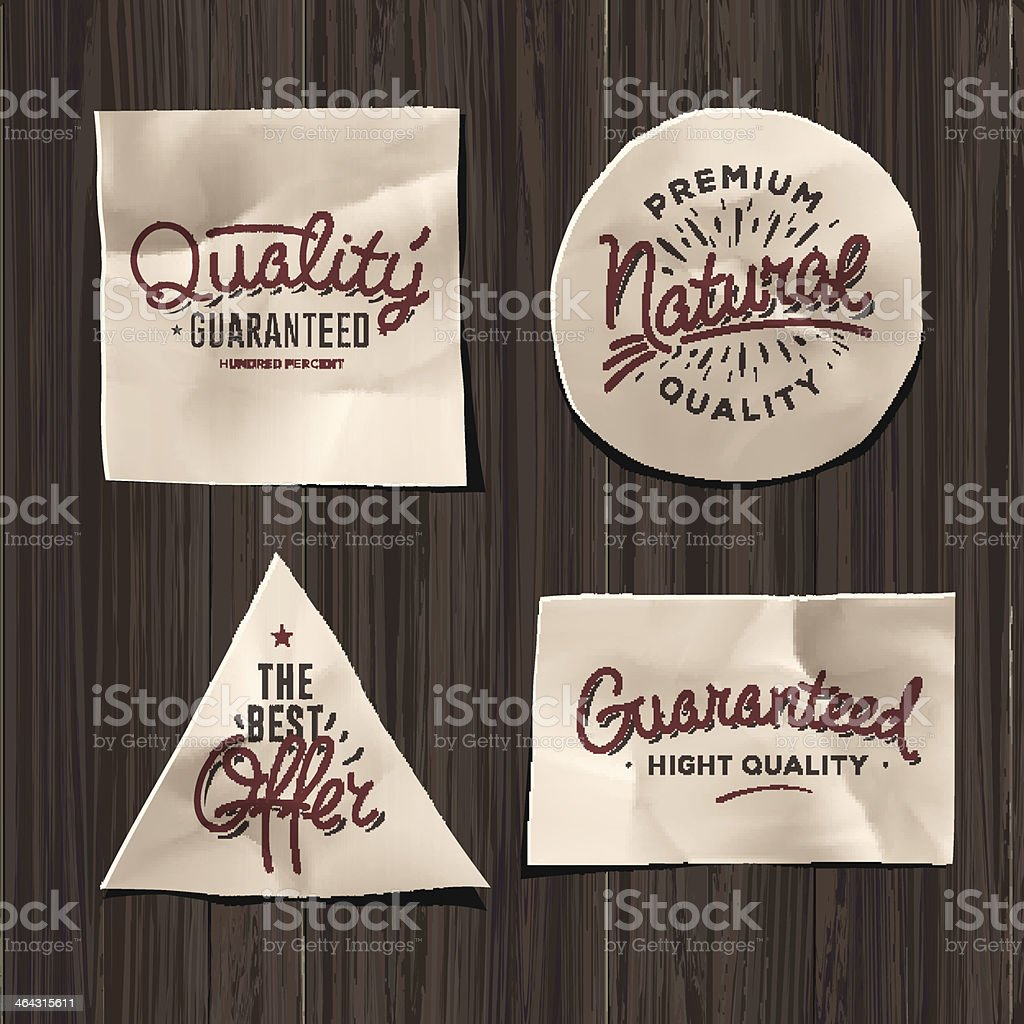 Premium quality craft paper labels royalty-free stock vector art