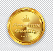 Premium Quality Golden Medal Icon Seal  Sign Isolated on Transparent Background. Vector Illustration EPS10