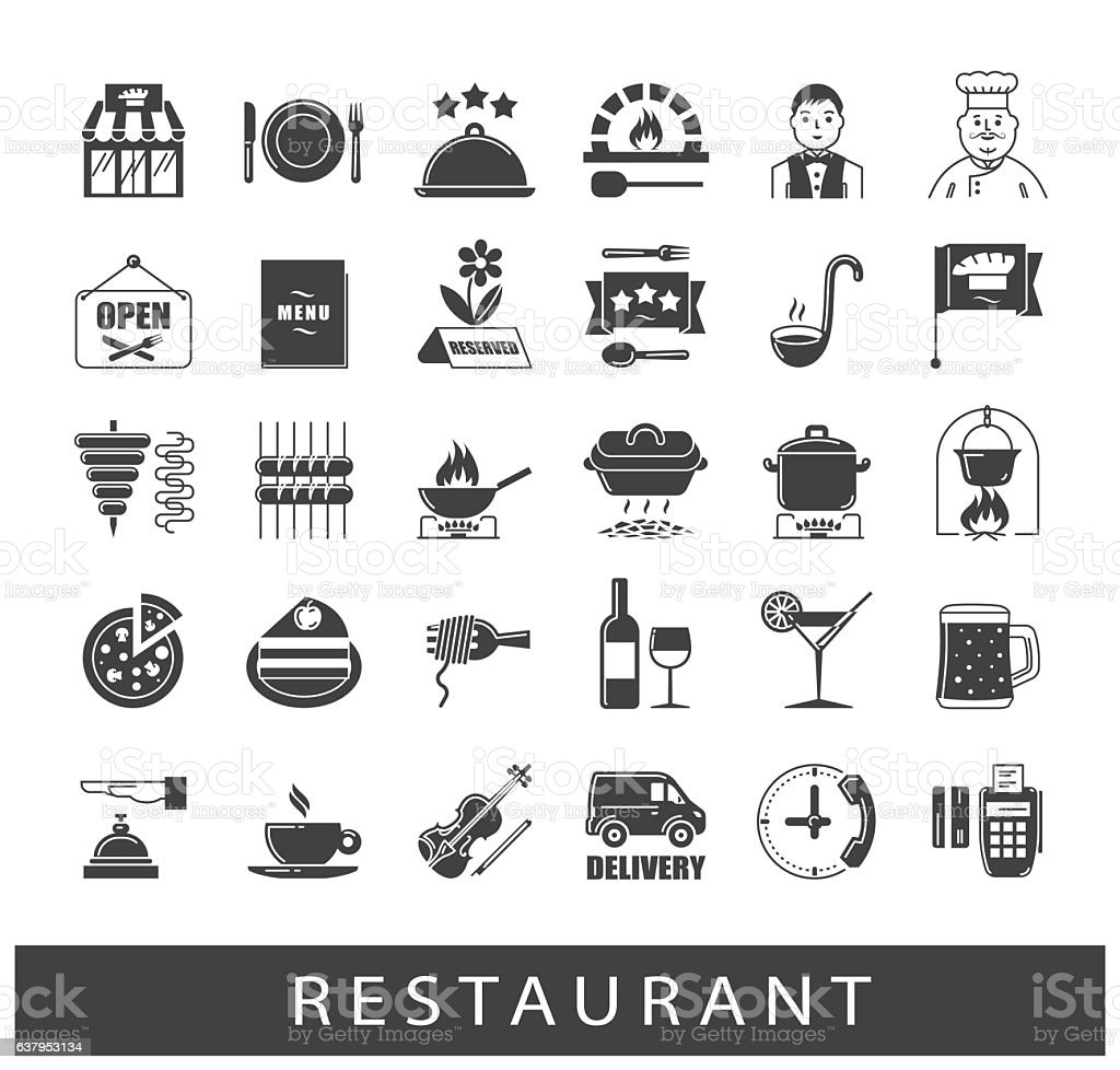 Premium quality kitchen and restaurant icons vector art illustration