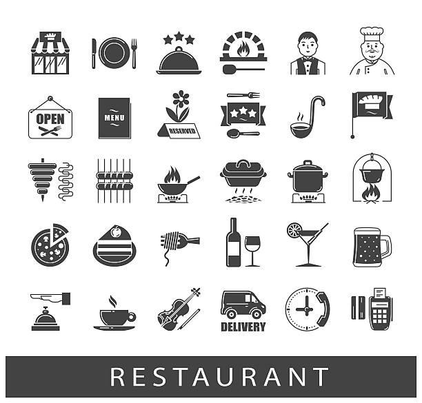 stockillustraties, clipart, cartoons en iconen met premium quality kitchen and restaurant icons - voedsel en drank serveren