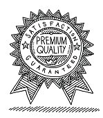 Hand-drawn vector drawing of a Premium Quality Label. Black-and-White sketch on a transparent background (.eps-file). Included files are EPS (v10) and Hi-Res JPG.