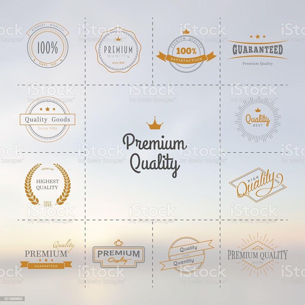 Premium quality labels set vector art illustration