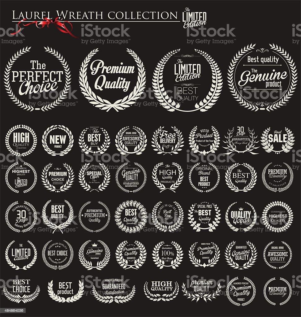 Premium quality laurel wreath collection vector art illustration