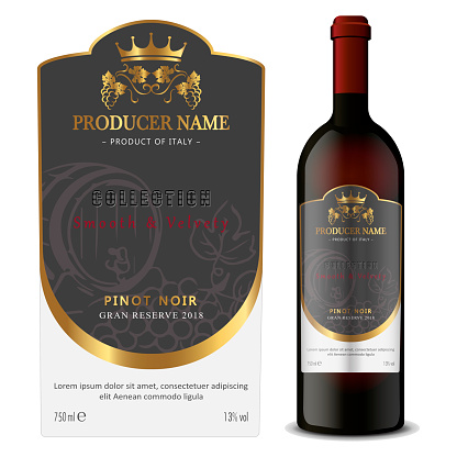 Premium Quality Red and White Wine Labels with Bottle