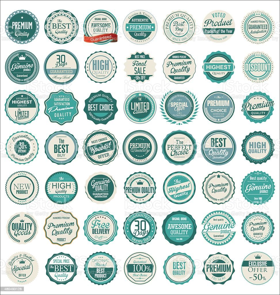 Premium quality retro badges vector art illustration