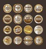 Premium quality retro vintage golden labels collection
