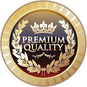 Premium quality royal gold shield with a laurel.
