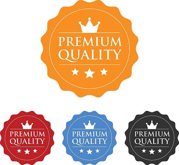 illustrazioni stock, clip art, cartoni animati e icone di tendenza di qualità premium garanzia etichetta icona piatto o - sigillo timbro