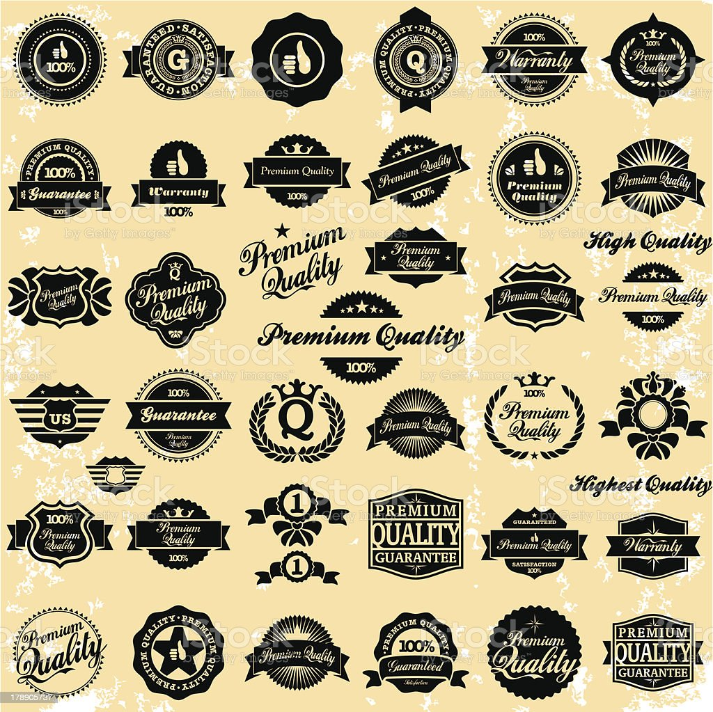 Premium Quality Vintage Labels royalty-free premium quality vintage labels stock vector art & more images of backgrounds