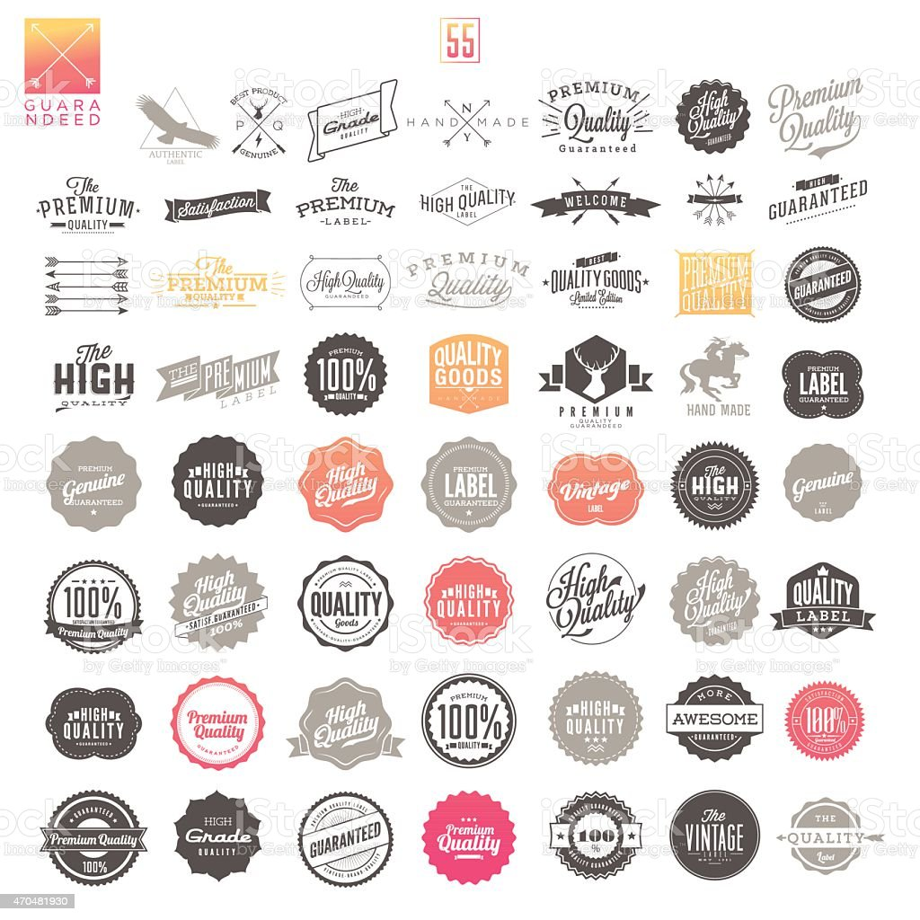 Premium Quality Vintage Labels vector art illustration
