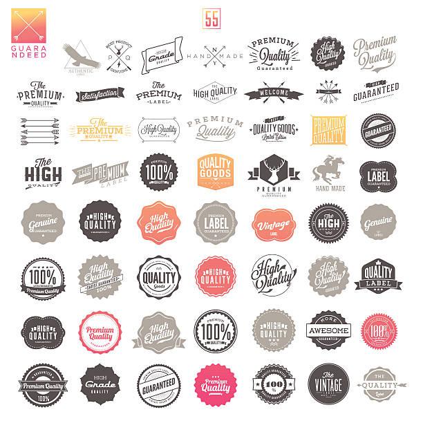 Vintage Premium Qualität Etiketten – Vektorgrafik