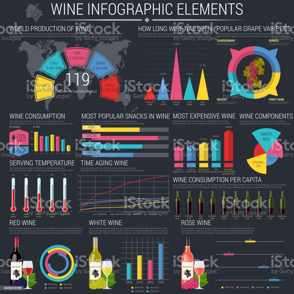 Premium quality wine infographic on dark background. With bottles and vector art illustration