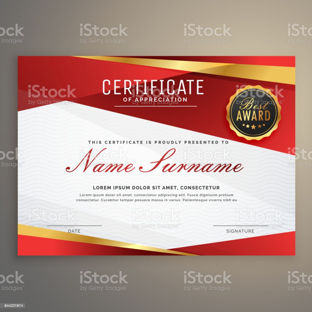 Premiumrote Diplom Design Award Zertifikatvorlage Stock Vektor Art ...