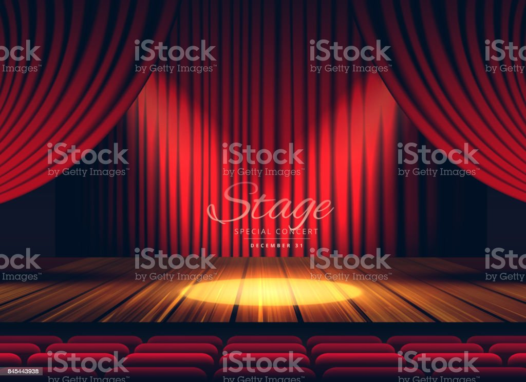 Premium red curtains stage, theater or opera background with spotlight vector art illustration