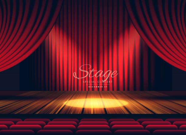 高級赤カーテン ライト ステージ、劇場またはオペラの背景 - ステージ点のイラスト素材/クリップアート素材/マンガ素材/アイコン素材