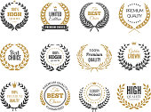 Premium round labels. Sale or victory emblem with round greek branches vector badges collection. Quality label or badge, banner limited edition emblem illustration