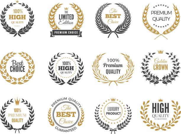 高級圓形標籤。銷售或勝利標誌與圓形希臘分支向量徽章收集 - 高質素 幅插畫檔、美工圖案、卡通及圖標