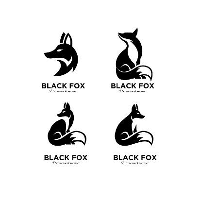 premium set collection icon design of black fox silhouette animal mascot